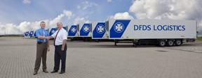 DFDS Logistics' Mervyn McIntyre (left) takes delivery of his company's the new trailer fleet from Cargobull Key Accounts Manager, Allan McKee